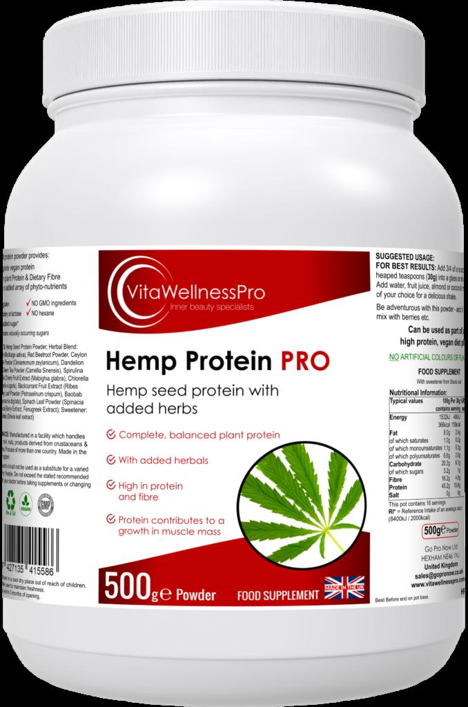 Hemp Protein Powder - Vegan Protein Powder & Herbal Blend Food Supplement